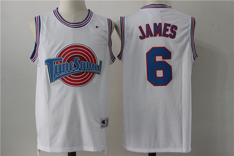 Tune Squad 6 Lebron James White Stitched Jersey