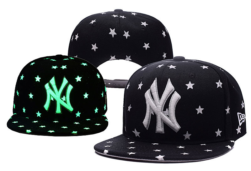Yankees Team Logo Black Adjustable Luminous Hat YD