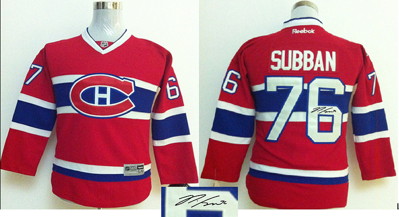 Canadiens 76 Subban Red Signature Edition Youth Jerseys