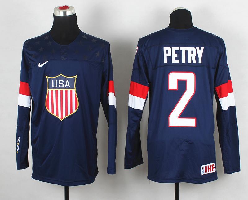 USA 2 Petry Blue 2014 Olympics Jerseys