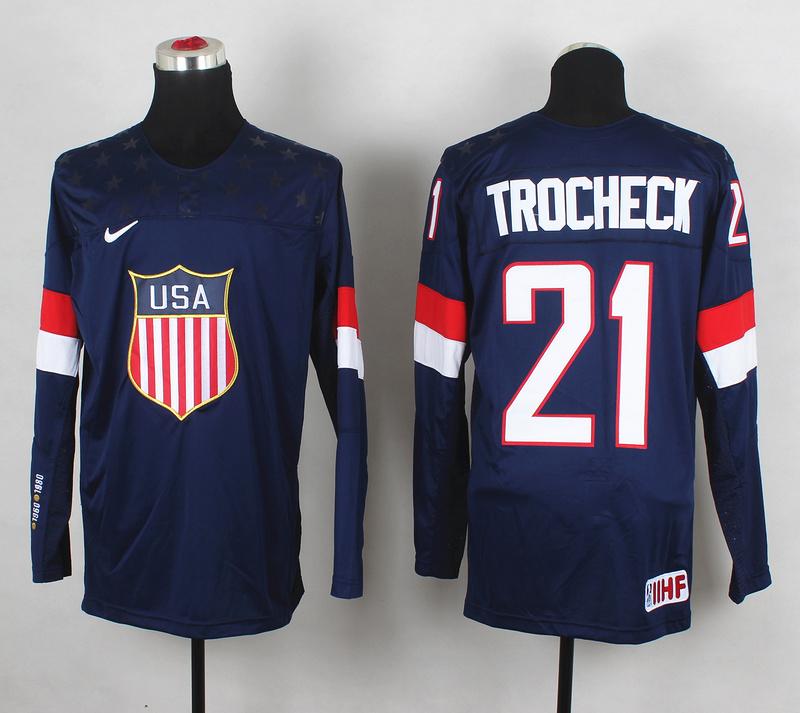 USA 21 Trocheck Blue 2014 Olympics Jerseys