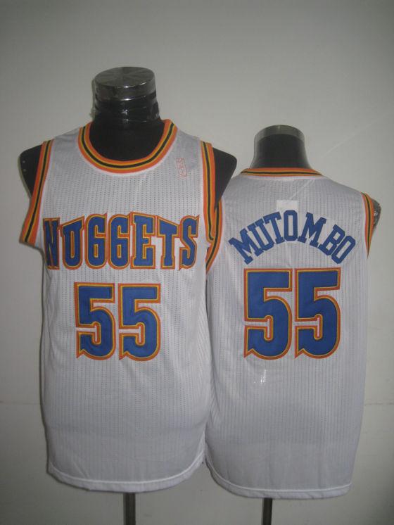 Nuggets 55 Mutombo White New Revolution 30 Jerseys