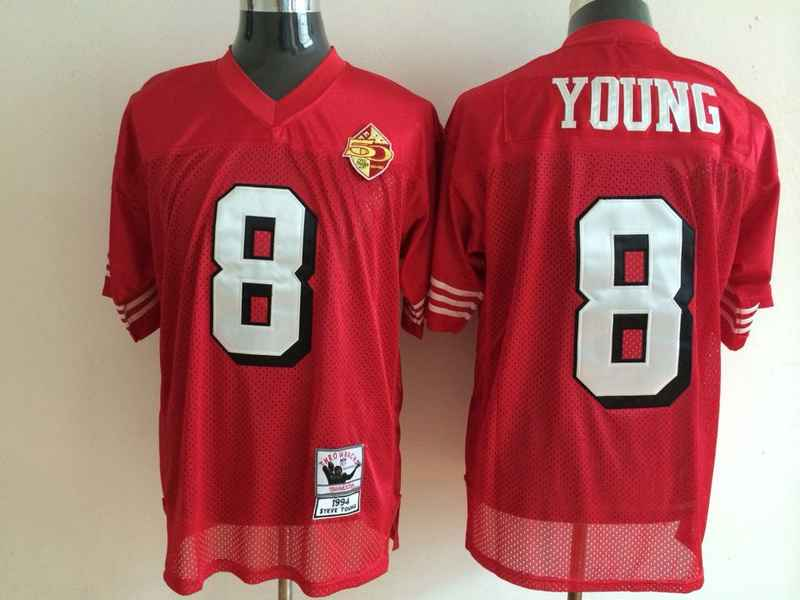 49ers 8 Young Red Mitchell&Ness Jerseys