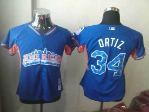Red Sox 34 Ortiz Blue 2013 All Star Jerseys