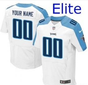 Nike Tennessee Titans Customized Elite White Jerseys