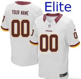 Nike Washington Redskins Customized Elite White Jerseys