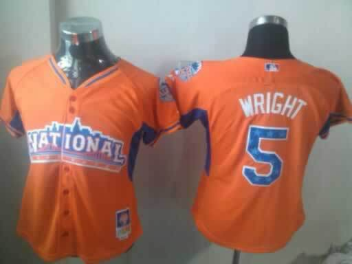 Mets 5 Wright Orange 2013 All Star Women Jerseys