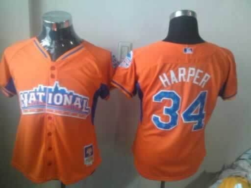 Nationals 34 Harper Orange Orange 2013 All Star Women Jerseys