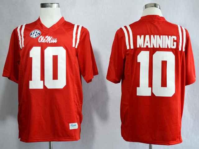Ole Miss Rebels Eli Manning 10 College Red Jerseys
