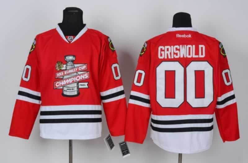 Blackhawks 00 Griswold Red 2013 Stanley Cup Champions Jerseys