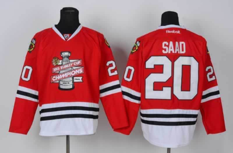 Blackhawks 20 Saad Red 2013 Stanley Cup Champions Jerseys