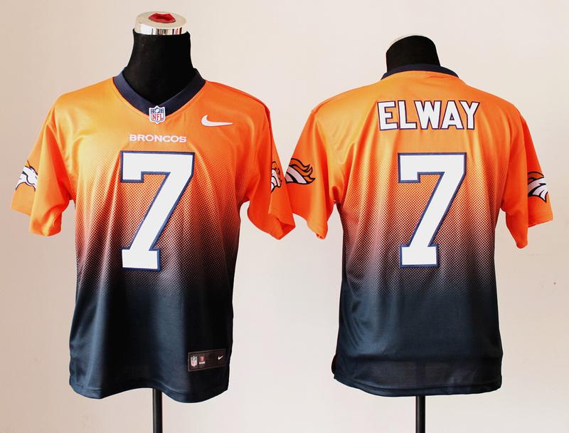 Nike Broncos 7 Elway Orange And Black Drift II Elite Jerseys