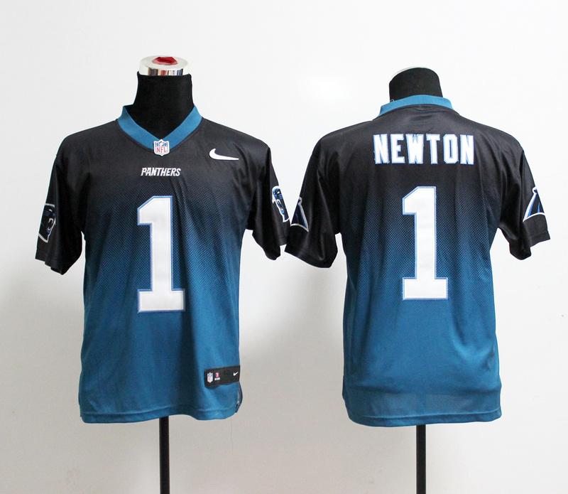 Nike Panthers 1 Newton Black And Blue Drift II Elite Jerseys