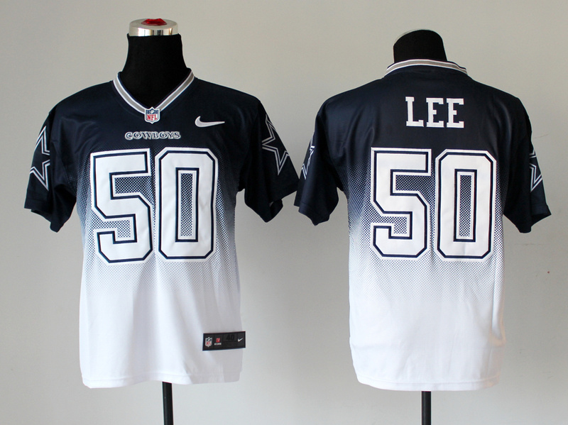 Nike Cowboys 50 Lee Blue And White Drift II Elite Jerseys