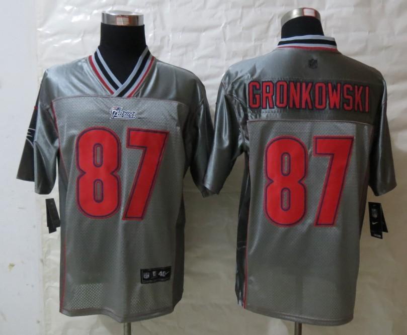 Nike Patriots 87 Gronkowski Grey Vapor Elite Jerseys
