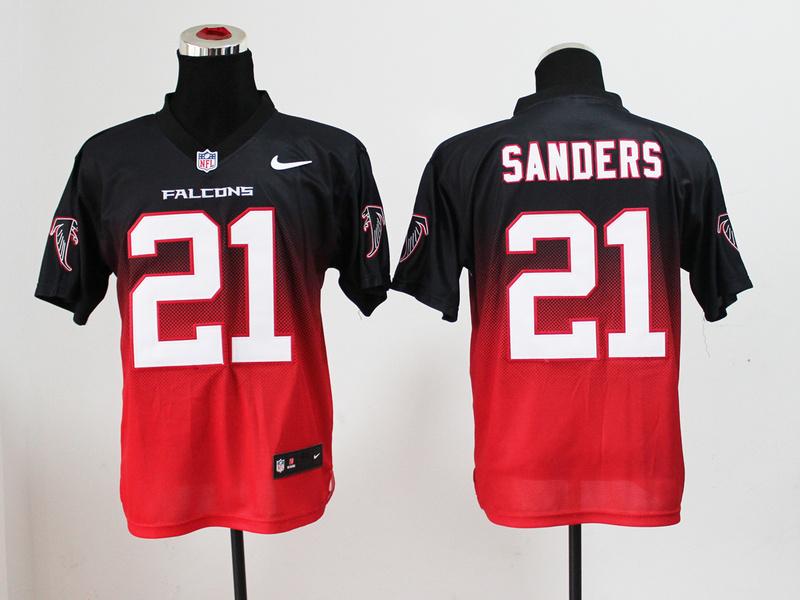 Nike Falcons 21 Sanders Black And Red Drift II Elite Jerseys