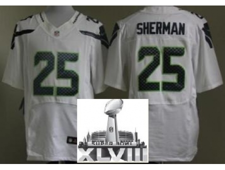 Nike Seahawks 25 Richard Sherman White Elite 2014 Super Bowl XLVIII Jerseys