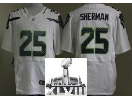 Nike Seahawks 25 Richard Sherman White Elite 2014 Super Bowl XLVIII Jerseys