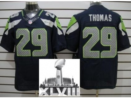 Nike Seahawks 29 Earl Thomas Blue Elite 2014 Super Bowl XLVIII Jerseys
