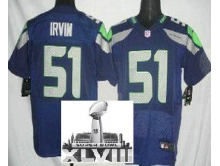 Nike Seahawks 51 Bruce Irvin Blue Elite 2014 Super Bowl XLVIII Jerseys