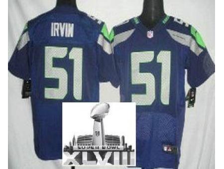 Nike Seahawks 51 Bruce Irvin Blue Elite 2014 Super Bowl XLVIII Jerseys