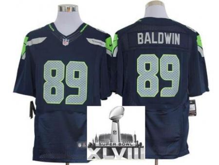 Nike Seahawks 89 Doug Baldwin Blue Elite 2014 Super Bowl XLVIII Jerseys