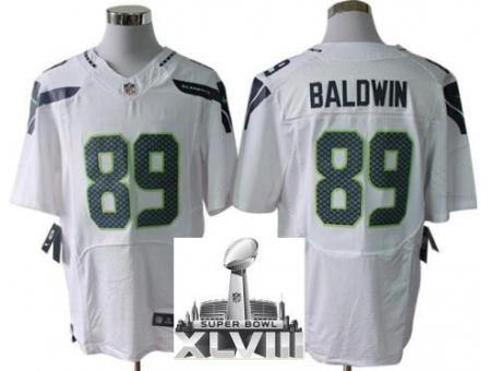 Nike Seahawks 89 Doug Baldwin White Elite 2014 Super Bowl XLVIII Jerseys
