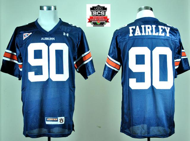 Under Armour Auburn Tigers Nick Fairley 90 Navy Blue College Football Jersey With 2014 BCS Patch