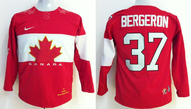 Canada 37 Bergeron Red 2014 Olympics Kids Jerseys