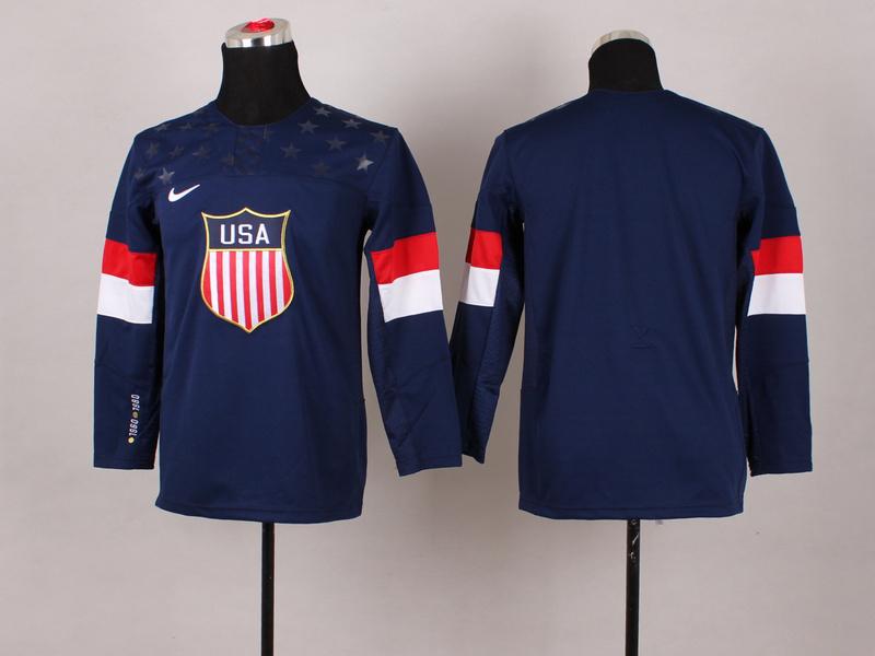 USA Blank Blue 2014 Olympics Kids Jerseys
