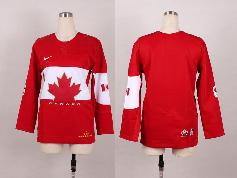 Canada Blank Red 2014 Olympics Women Jerseys