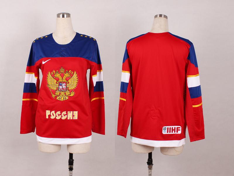 Russia Blank Red 2014 Olympics Women Jerseys