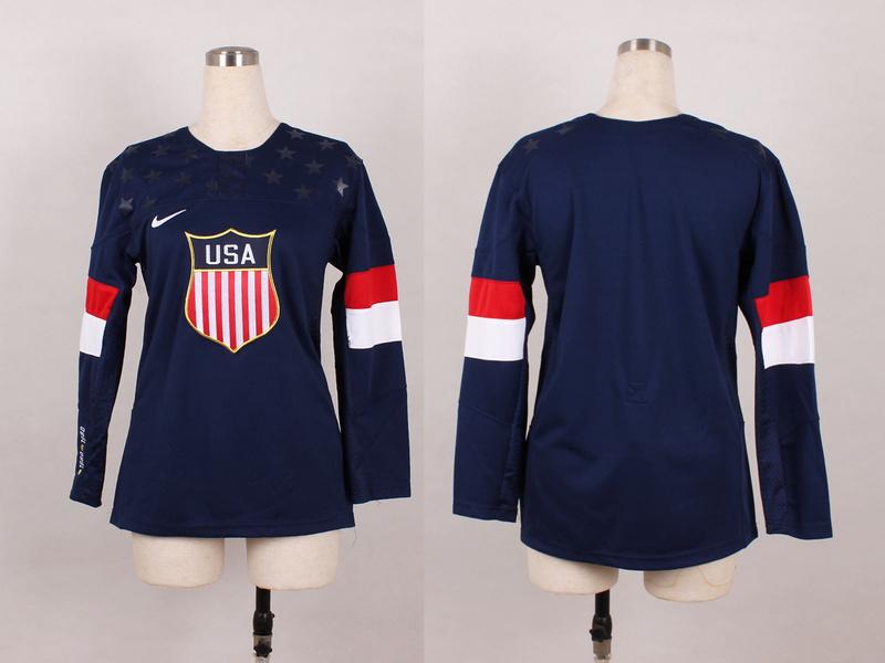 USA Blank Blue 2014 Olympics Women Jerseys
