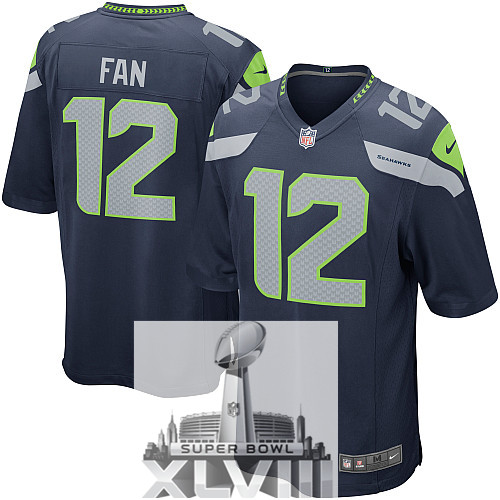 Nike Seahawks 12 Fan Blue Elite 2014 Super Bowl XLVIII Jerseys