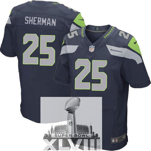 Nike Seahawks 25 Sherman Blue Elite 2014 Super Bowl XLVIII Jerseys