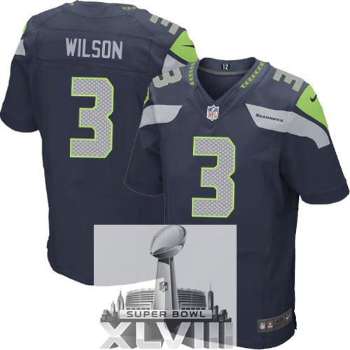 Nike Seahawks 3 Wilson Blue Elite 2014 Super Bowl XLVIII Jerseys