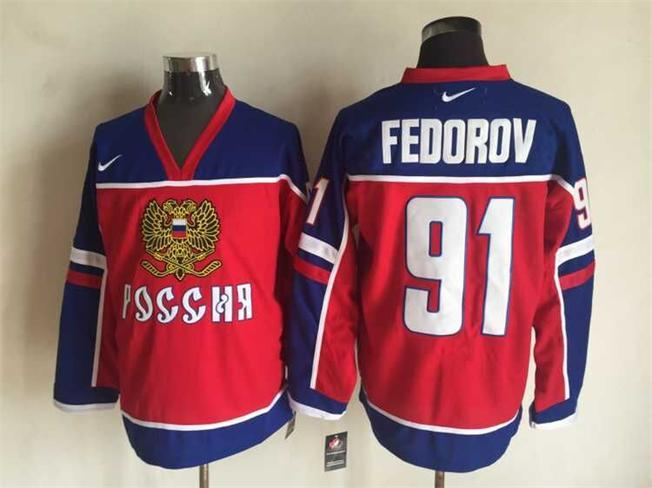 Russia 91 Sergei Fedorov Red Nike Jersey