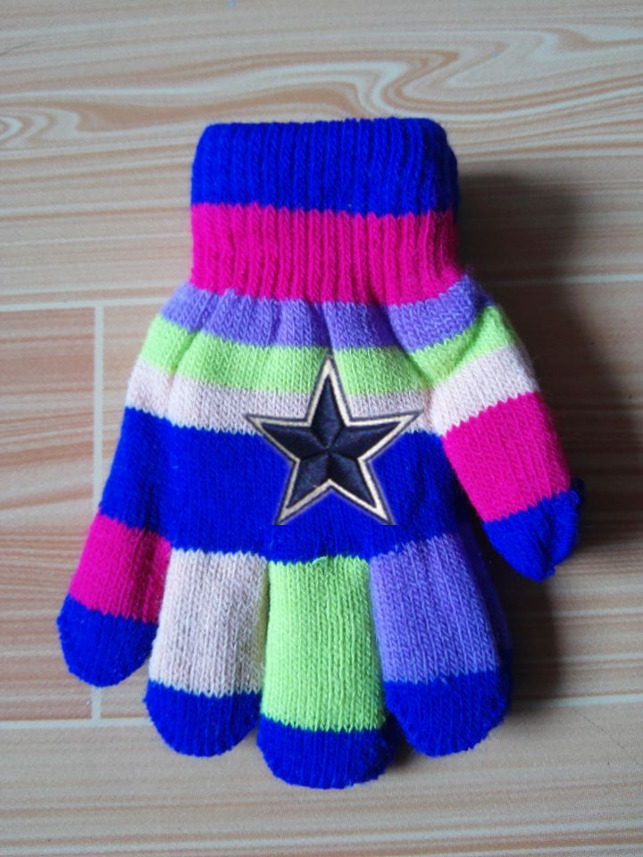 Cowboys Kids Knit Gloves