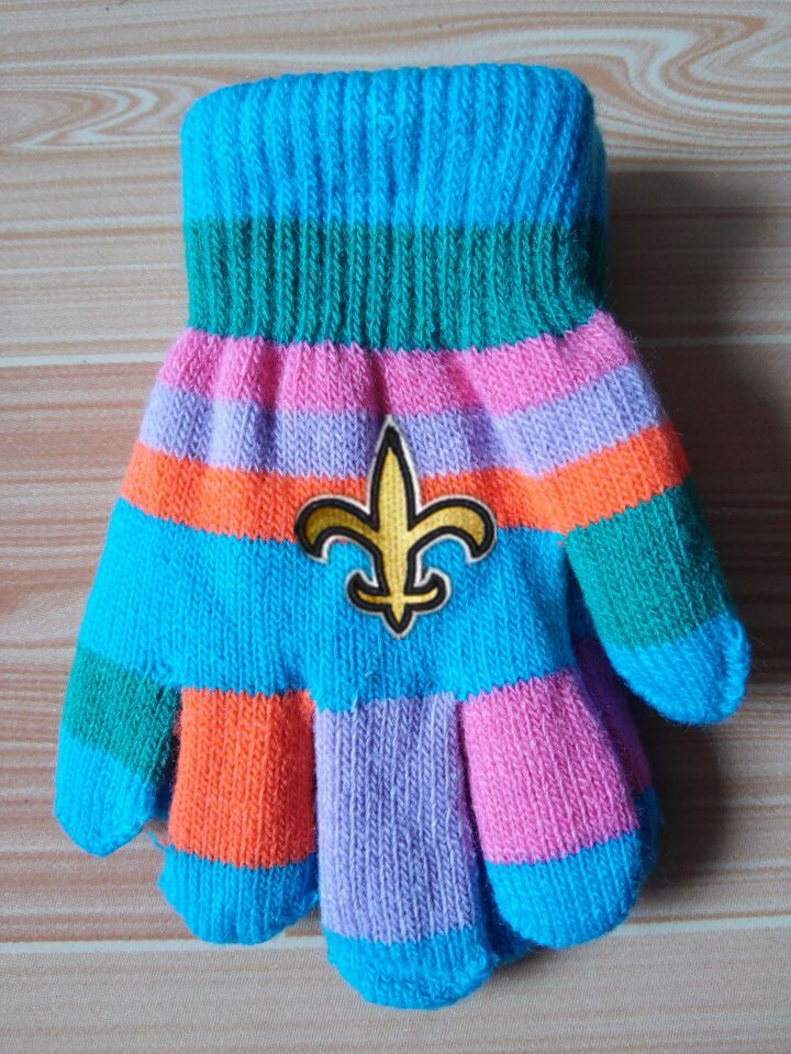 Saints Kids Knit Gloves2