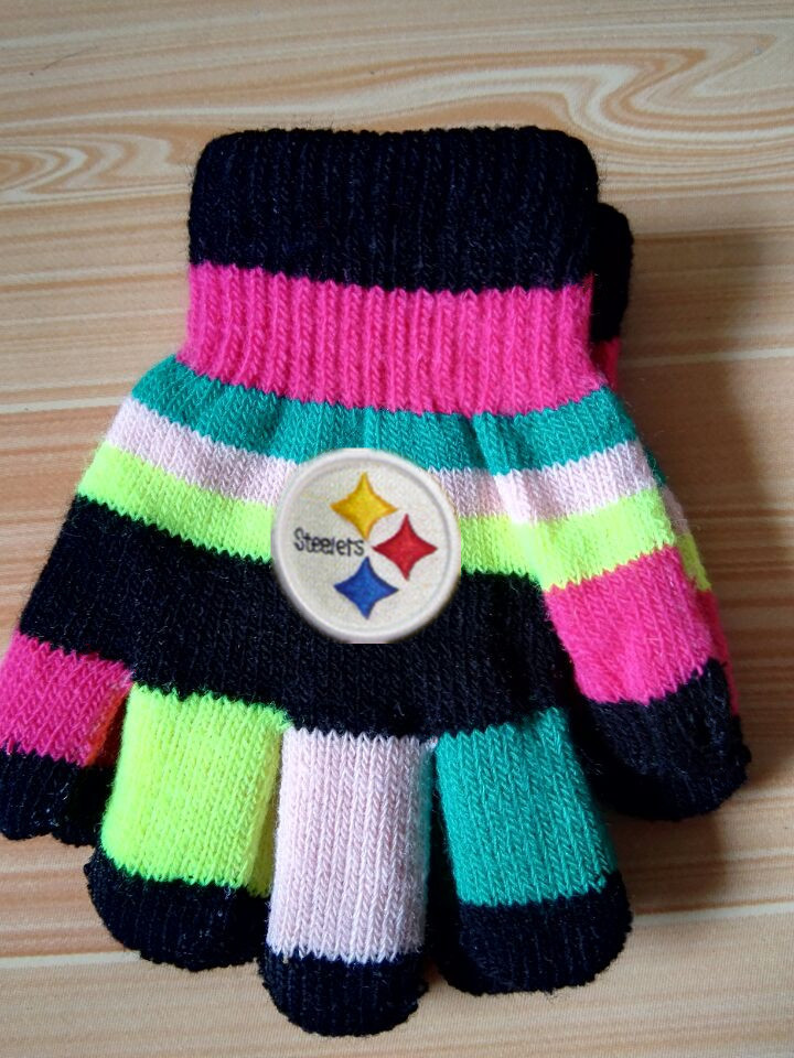 Steelers Kids Knit Gloves2
