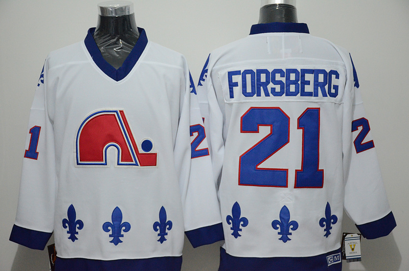 Nordiques 21 Peter Forsberg White CCM Jersey