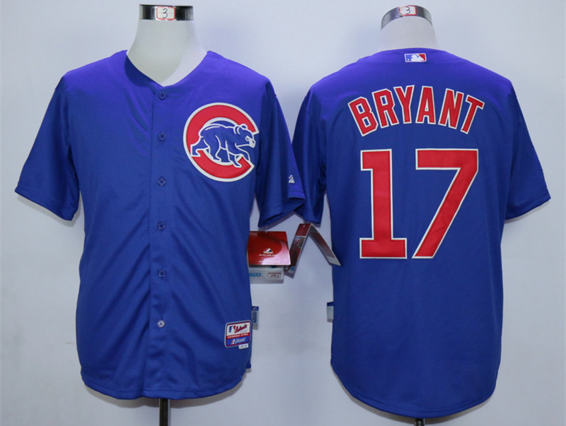 Cubs 17 Kris Bryant Blue Cool Base Jersey