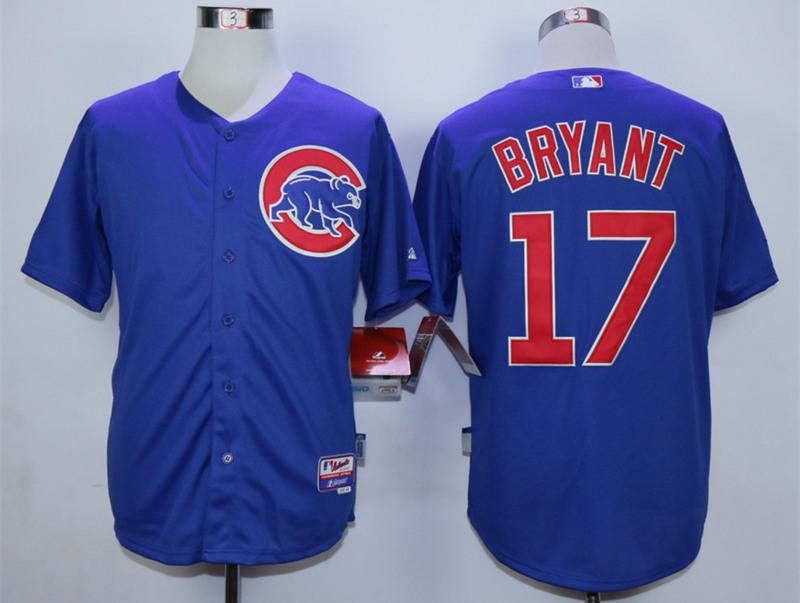 Cubs 17 Kris Bryant Blue Cool Base Jersey
