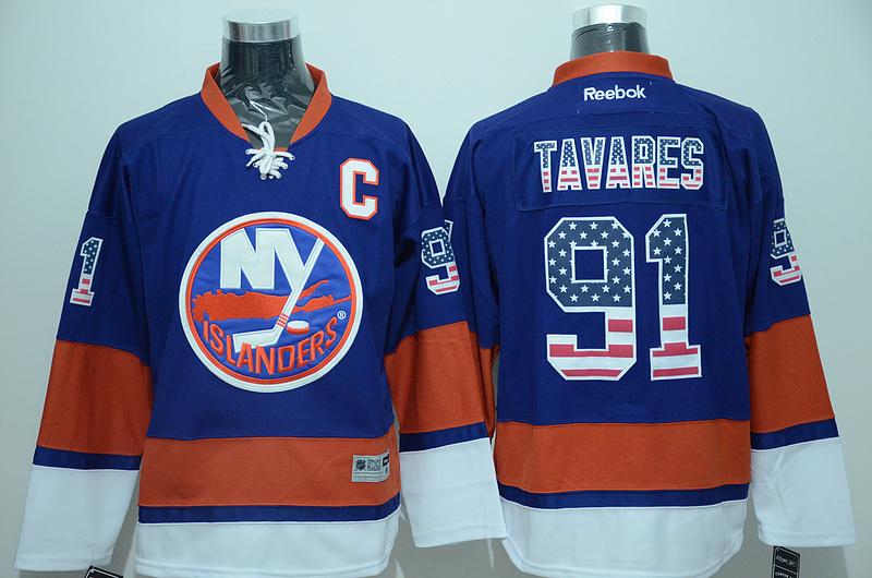 Islanders 91 John Tavares Blue USA Flag Reebok Jersey
