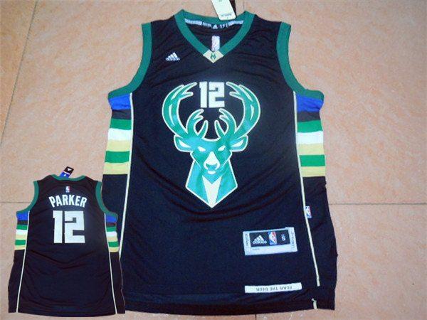 Bucks 12 Jabari Parker Black Swingman Jersey