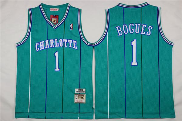 Hornets 1 Muggsy Bogues Green Hardwood Classics Jersey