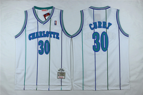 Hornets 30 Dell Curry White Hardwood Classics Jersey