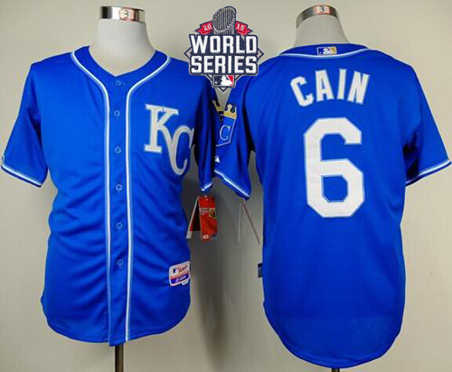 Royals 6 Lorenzo Cain Blue With 2015 World Series Cool Base Jersey