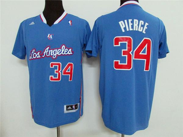 Clippers 34 Paul Pierce Light Blue Short Sleeve Swingman Jersey