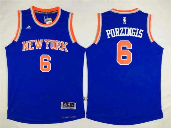 Knicks 6 Kristaps Porzingis Blue Swingman Jersey